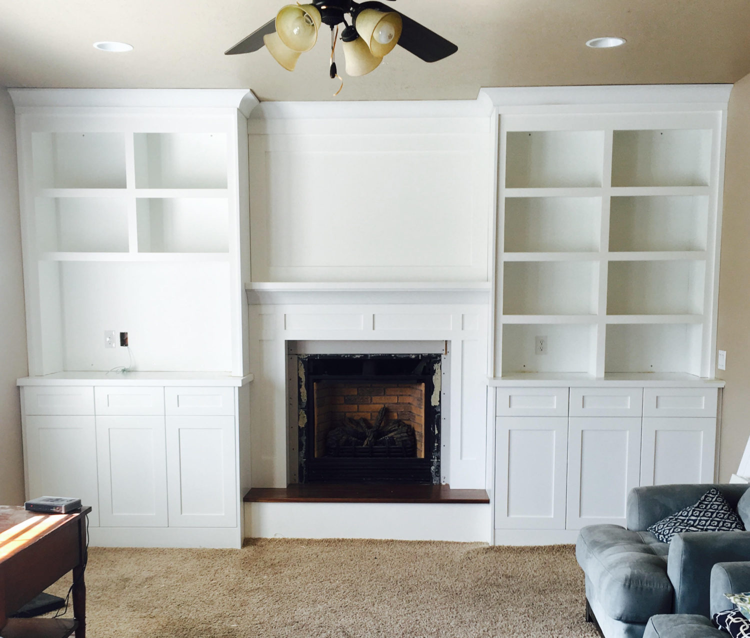 alcove bookshelf fireplace